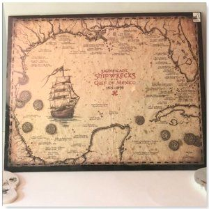 Shipwreck Map Of The Gulf Of Mexico Artwork 15x19